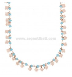 NECKLACE WITH SHELLS AND STONES IN SILVER ROSE TIT 925 ‰ CM 40-45