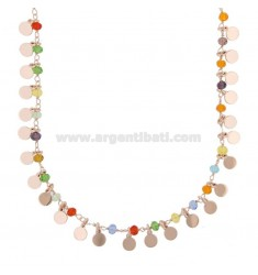 NECKLACE WITH DISKETS AND STONES IN SILVER ROSE TIT 925 ‰ CM 40-45
