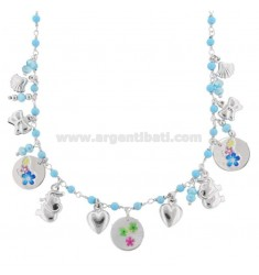 NECKLACE WITH TURQUOISE PASTA AND MIXED PENDANTS WITH STICKERS IN RHODIUM SILVER TIT 925 ‰ CM 40-45