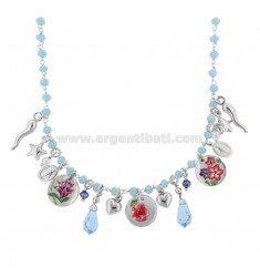 NECKLACE WITH STONES AND MIXED PENDANTS WITH STICKERS IN SILVER RHODIUM TIT 925 ‰ CM 40-45
