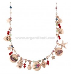 NECKLACE WITH STONES AND MIXED PENDANTS WITH SILVER STICKERS ROSE TIT 925 ‰ CM 40-45