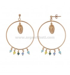 CIRCLE PENDANT EARRINGS WITH STONES AND SHELLS IN ROSE SILVER TIT 925