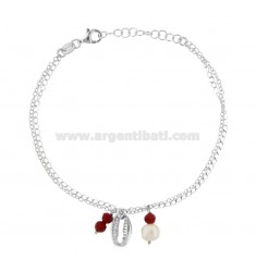 ROLO BRACELET 'WITH SHELL AND PENDANT STONES IN RHODIUM SILVER TIT 925 ‰ CM 17-19