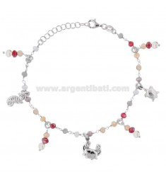BRACELET WITH STONES AND MARINE SUBJECTS PENDING IN SILVER RHODIUM TIT 925 ‰ CM 17-19