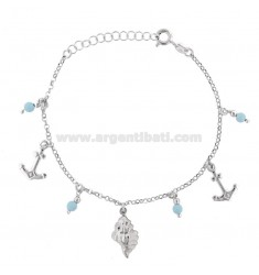 ROLO BRACELET 'WITH MARINE SUBJECTS AND TURQUOISE PASTA IN RHODIUM SILVER TIT 925 ‰ CM 17-19