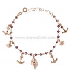 ROLO BRACELET 'WITH MARINE SUBJECTS AND SILVER STONES ROSE TIT 925 ‰ CM 17-19