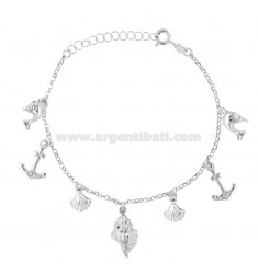 ROLO BRACELET 'WITH MARINE SUBJECTS IN SILVER RHODIUM TIT 925 ‰ CM 17-19