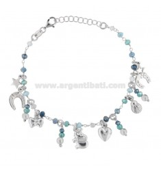 ROLO BRACELET 'WITH SCARAMANTIC SUBJECTS AND STONES IN RHODIUM SILVER TIT 925 ‰ CM 17-19
