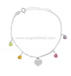 ROLO BRACELET 'WITH HEART AND STONES IN SILVER RHODIUM TIT 925 ‰ CM 17-19