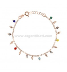 ROLO BRACELET 'WITH BALLS AND STONES IN SILVER ROSE TIT 925 ‰ CM 17-19