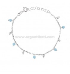 BRACELET WITH TURQUOISE PASTE AND PENDANT BALLS IN RHODIUM SILVER TIT 925 ‰ CM 17-19