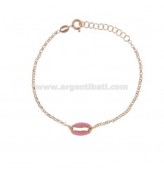 ROLO BRACELET 'WITH SHELL IN SILVER ROSE TIT 925 ‰ AND ENAMEL CM 17-19