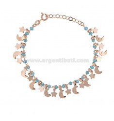 BRACELET WITH STARS, MOON AND STONES IN SILVER ROSE TIT 925 ‰ CM 17-19