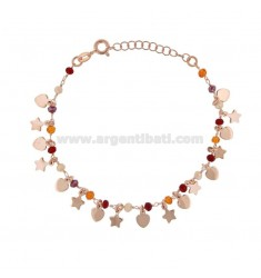 BRACELET WITH HEARTS, STARS AND STONES IN SILVER ROSE TIT 925 ‰ CM 17-19