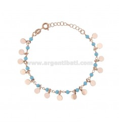 BRACELET WITH ROUNDS AND PASTA OF TURQUOISE SILVER ROSE TIT 925 ‰ CM 17-19