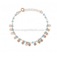 BRACELET WITH SHELLS AND STONES IN ROSE SILVER TIT 925 ‰ CM 17-20