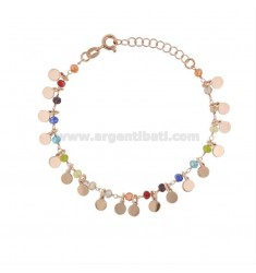 BRACELET WITH DISKETS AND STONES IN ROSE SILVER TIT 925 ‰ CM 17-19