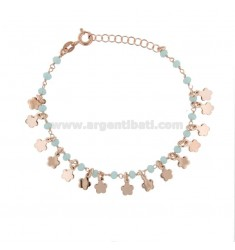 BRACELET WITH FLOWERS AND STONES IN SILVER ROSE TIT 925 ‰ CM 17-19