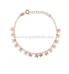 BRACELET WITH BUTTERFLIES AND STONES IN ROSE SILVER TIT 925 ‰ CM 17-19