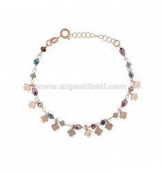 BRACELET WITH SHELLS AND STONES IN ROSE SILVER TIT 925 ‰ CM 17-19