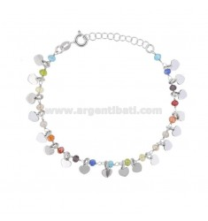 BRACELET WITH HEARTS AND STONES IN RHODIUM SILVER TIT 925 ‰ CM 17-19