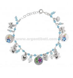 BRACELET WITH PASTA OF TURQUOISE AND MIXED PENDANTS WITH STICKERS IN SILVER RHODIUM TIT 925 ‰ CM 17-19
