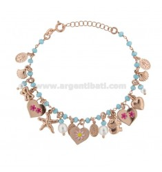 BRACELET WITH STONES AND MIXED PENDANTS WITH ROSE SILVER STICKERS TIT 925 ‰ CM 17-19