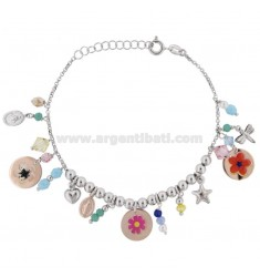 BRACELET WITH STONES AND MIXED PENDANTS WITH STICKERS IN SILVER RHODIUM TIT 925 ‰ CM 17-19
