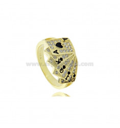 FRENCH CARD RING IN GOLDEN SILVER TIT 925 AND WHITE AND BLACK ZIRCONIA SIZE 18