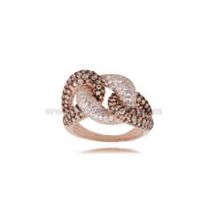 GROCUET RING DEGRADE IN SILVER ROSE TIT 925 AND ZIRCONIA WHITE AND CHAMPAGNE SIZE 14