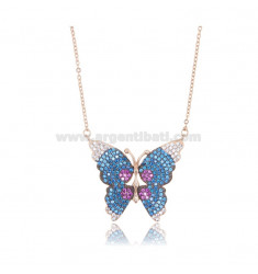 NECKLACE CABLE WITH BUTTERFLY 24X29 MM SILVER ROSE TIT 925 AND COLORED ZIRCONS 42-45 CM