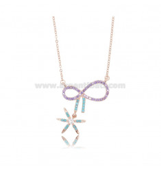 NECKLACE CABLE WITH BOW AND BOW SNOW 25X22 MM SILVER ROSE TIT 925 AND ZIRCONIA COLORED 42-45 CM