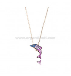 NECKLACE CABLE WITH DOLPHIN 12X18 MM SILVER ROSE TIT 925 AND ZIRCONIA COLORED 42-45 CM