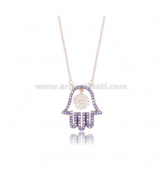 CABLE NECKLACE WITH HAND OF FATIMA 20X18 MM IN ROSE SILVER TIT 925 AND COLORED ZIRCONIA CM 42-45