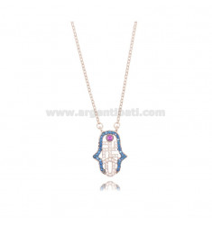 CABLE NECKLACE WITH HAND OF FATIMA 17X12 MM IN ROSE SILVER TIT 925 AND COLORED ZIRCONIA CM 42-45