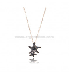 NECKLACE CABLE WITH STARS MARINE 15X13 MM SILVER ROSE TIT 925 AND ZIRCONIA BLACKS 42-45 CM
