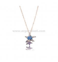 NECKLACE CABLE WITH STARS MARINE 15X13 MM SILVER ROSE TIT 925 AND ZIRCONIA COLRATED 42-45 CM