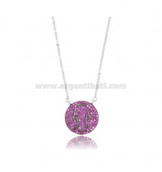 CABLE NECKLACE WITH FATIMA'S HAND IN THE CIRCLE 15 MM IN SILVER RHODIUM TIT 925 AND COLRATED ZIRCONIA CM 42-45