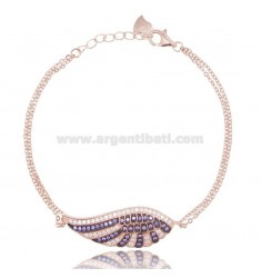 BRACELET CABLE WITH WING 32x11 MM SILVER ROSE TIT 925 AND ZIRCONIA COLORED 17-19 CM