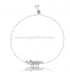 CABLE BRACELET WITH CROCODILE 23X6 MM SILVER RHODIUM TIT 925 AND WHITE AND GREEN ZIRCONS 17-19 CM