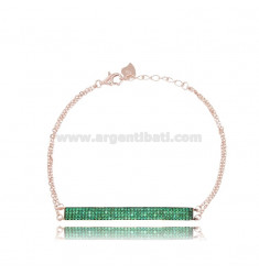 BRACELET CABLE WITH PLATE 45x5 MM SILVER ROSE TIT 925 AND ZIRCONIA GREEN CM 17-19