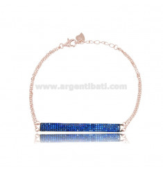 BRACELET CABLE WITH PLATE 45x5 MM SILVER ROSE TIT 925 AND ZIRCONIA BLUE 17-19 CM