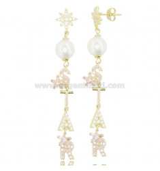 PENDANT EARRINGS STAR IN SILVER GOLDEN TIT 925 COLORED ZIRCONIA AND PEARLS