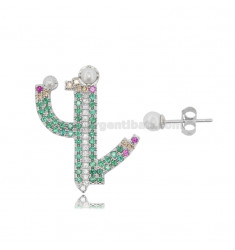 CACTUS EARRINGS IN SILVER RHODIUM TIT 925 COLORED ZIRCONIA AND PEARLS