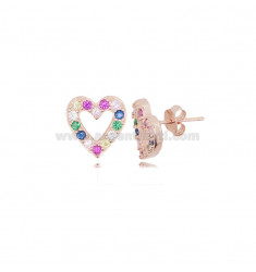 HEART EARRINGS IN SILVER ROSE TIT 925 AND COLORED ZIRCONIA