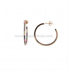 CIRCLE EARRINGS IN SILVER ROSE TIT 925 AND COLORED ZIRCONIA INTERNAL DIAMETER 25 MM