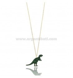 CABLE NECKLACE DINOSAUR IN SILVER GOLDEN TIT 925 AND GREEN ZIRCONS CM 42-45