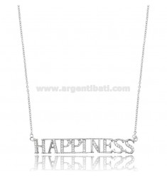 CABLE NECKLACE HAPPINESS IN SILVER RHODIUM-PLATED TIT 925 AND ZIRCONS CM 42-45