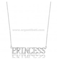 PRINCESS CABLE NECKLACE IN SILVER RHODIUM TIT 925 AND ZIRCONIA CM 42-45