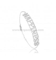 HAPPINESS CABLE BRACELET IN SILVER RHODIUM TIT 925 AND ZIRCONIA CM 17-19
